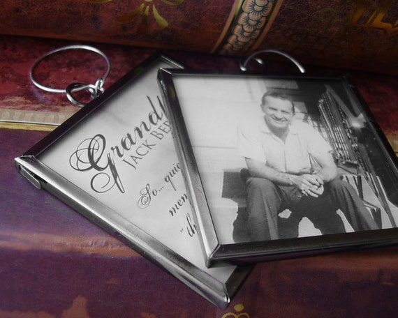 Double Sided Memorial Photo Pendant - Square, Glass, Large, Dark Silver - Includes Printing
