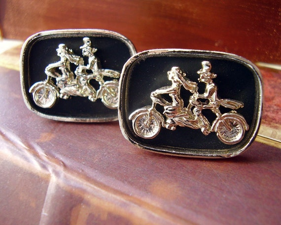 Vintage Bride & Groom Wedding Day Tandem Bicycle Cuff Links - Gold Tone, Black