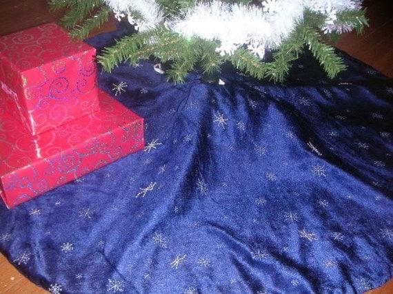 Midnight blue velveteen christmas tree skirt
