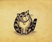 A Naturally Round Cat - Print