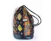 ON SALE 20% OFF Vintage Ikat Southwestern Boho Chic Drawstring Bucket Backpack