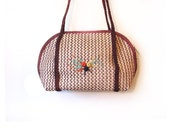 Vintage 70s Woven Bohemian Chic Floral Shoulder Purse