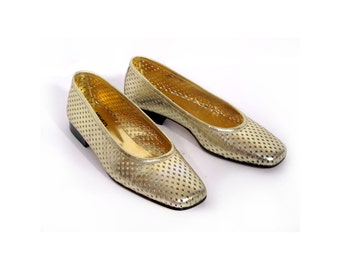 80s MIDAS Gold Perforated Italian Leather Pixie Flats 7 7.5