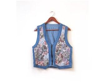 Vintage 80s Floral Denim Grunge Revivalist Vest large
