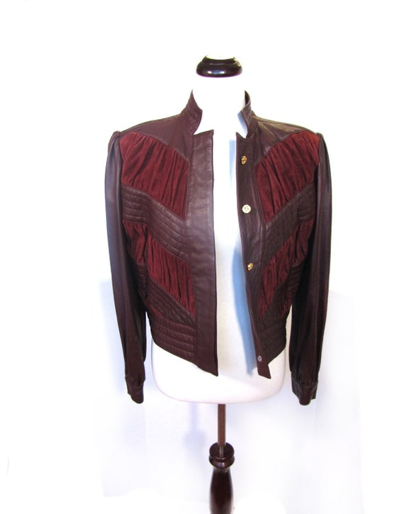 Vintage MAHOGANY Italian Leather and Suede Cropped Bomber Motorcycle Jacket S M