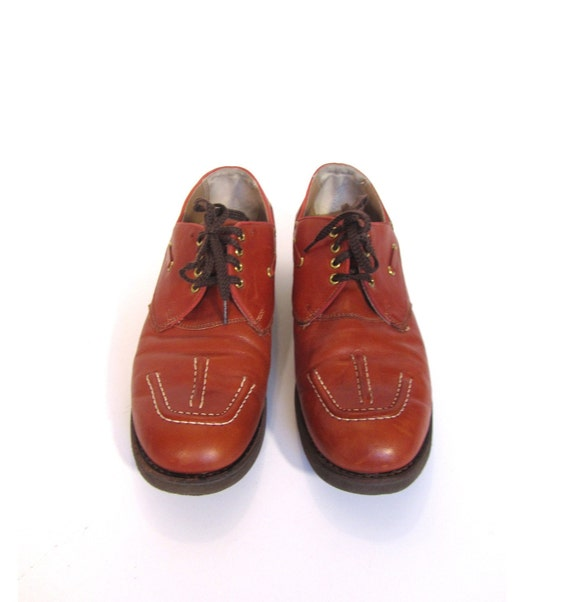 Vintage 60s Retro BURNT SUGAR Lace Up Leather Loafer Shoes womens 7.5A