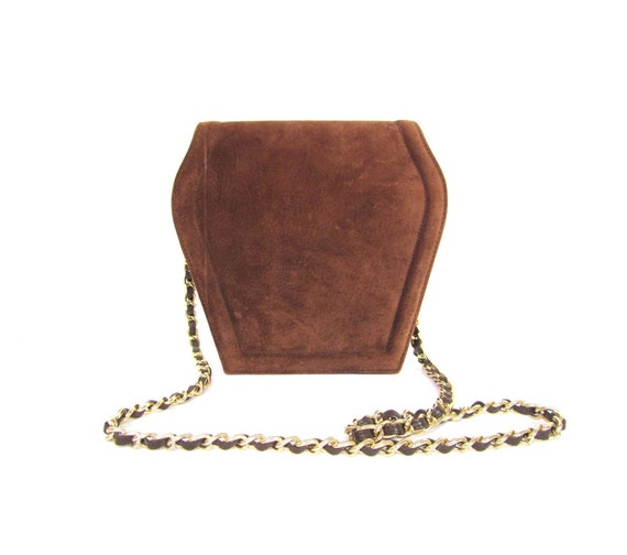 Vintage 80s Chocolate Suede Leather Art Deco Shoulder Purse with Gold Chain Strap