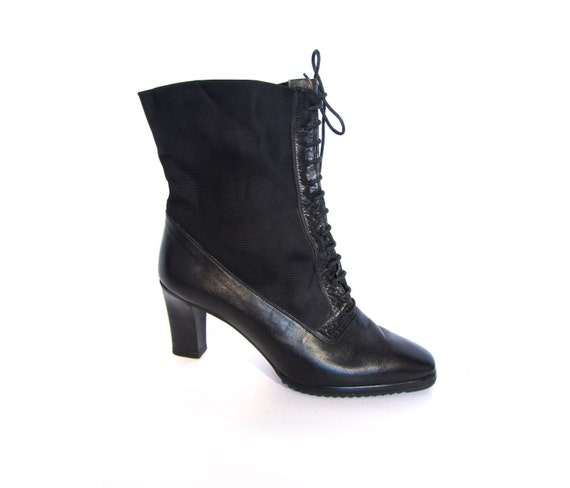 Vintage 90s Avant Garde Black Italian Leather and Nylon Corseted Ankle Boots 7.5 8