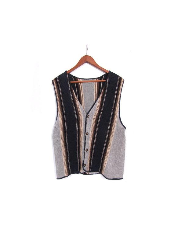 Vintage 90s Unisex Knit Striped Grunge Revivalist Button Up Sweater Vest s m l