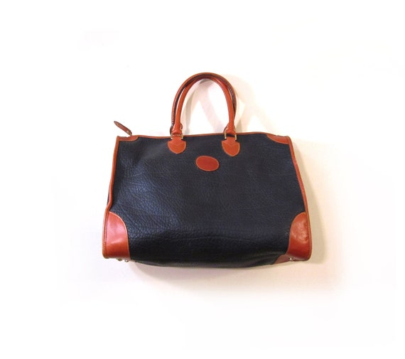 Vintage 80s Oversized Preppy Navy and Cognac Leather Duffel Bag Travel Tote Weekender