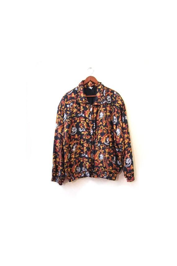 Vintage 80s Oversized Silk Floral Bomber Jacket s m l