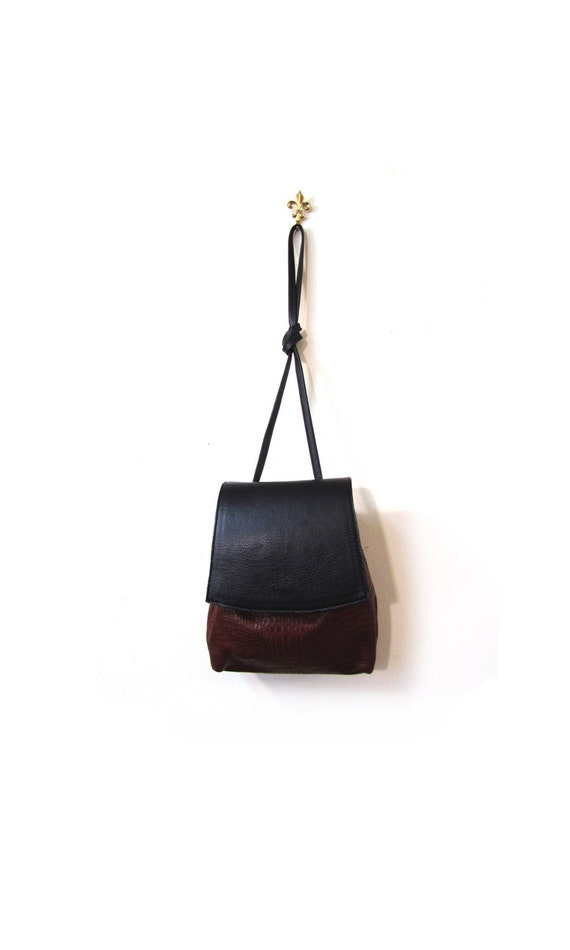 Vintage Rum & Licorice Black Leather Minimalist Mini Shoulder Purse