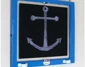 Vintage Window Chalkboard, Nautical, Blue / White - 28 x 26 - THE MARINER
