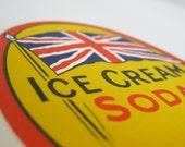 Vintage Paper Labels, Set of 3 - collectibles, bright, ephemera, decor, British, fruit, soda, yellow, red, orange - TASTES OF SUMMER