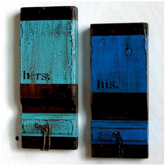 Repurposed, Recycled Coat Hooks / Organizers (Set of 2), Turquoise and Blue - HIS AND HERS