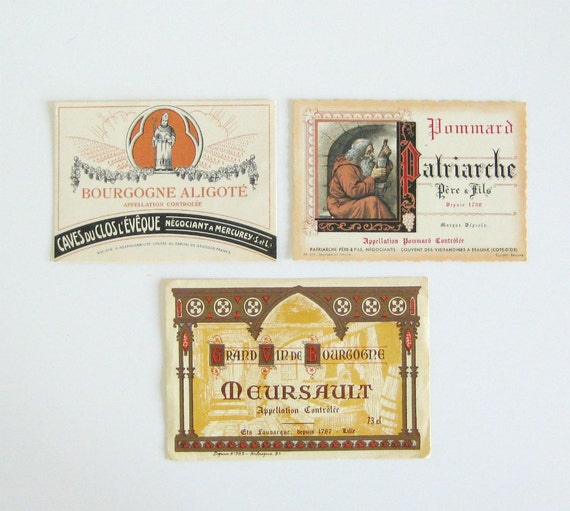 Vintage French Wine Labels, Set of 3 - retro, paper, ephemera, spirits, barware, collectibles - VIN TROIS