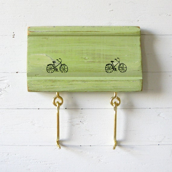 """Eco-Friendly Wood Key Rack, Organizer - green, bicycles, salvaged wood, gifts for her - 6"""" x 3.5"""" - """"RIDER"""" SERIES A"""