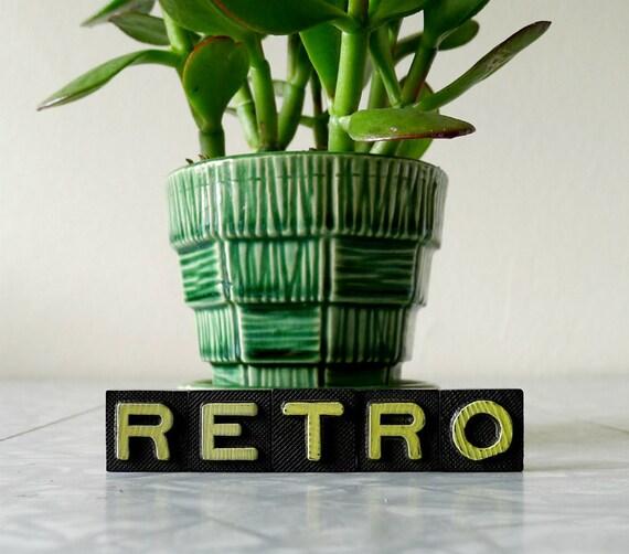 "Vintage Wood Letters / Game Pieces, Set of 4 - retro decor, decoration, typography, font - ""RETRO"" TO GO"