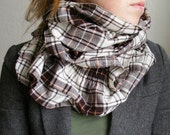Ruffle Scarf in Brown Plaid