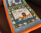 ONLY 1 LEFT!!! Owl Baby Quilt -  Personalized Baby Quilt - Gender Neutral - Blue Green Brown Orange Baby Quilt - Boy Girl -Made To Order