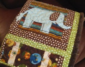Handmade Baby Quilt Personalized Chocolate Brown Green Blue Boy Girl Elephant Zebra Giraffe 36x36 Custom
