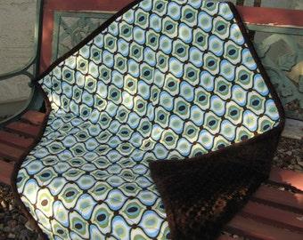 Baby Quilt Boy - Blue Green Geometric Brown Boy Quilt - Feeling Groovy - Blue Green Chocolate Brown Modern Baby Quilt Designer Fabrics