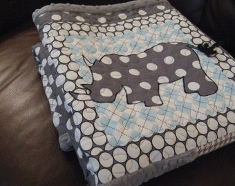 Baby Quilt Boy - Gray Blue Rhino Baby Boy Quilt - Rhinoceros Baby Quilt - Jungle Quilt -  Gray and Baby Blue - Made To Order