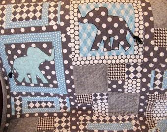 Baby Quilt Boy - Blue Gray Boy Quilt Elephants Gray Aqua Blue 36x36 Baby Boy Quilt Modern Baby Quilt Designer Fabrics
