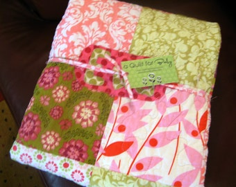 Baby Quilt Girl - Pink Green Girl Quilt Personalized Patchwork Flowers Made To Order Modern Designer Flower Baby Quilt Cotton Fabric