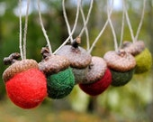 Wool Felted Acorn Ornaments - Set of 6 in Woodland Christmas Colors