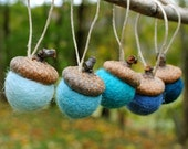 Wool Felted Acorn Ornaments - Set of 12 in Blues