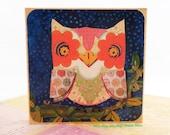 SALE: Night OWL - Mini Wall Plaque - Ready to Hang - Home / Kids Decor