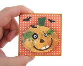 Pumpkin Print on Wood - Day of the Dead Wall Plaque - Halloween Decoration - Fall Foliage