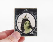 Witch Magnet - Halloween Green Witch with Bats - Ugly Witch Art Block Refrigerator Magnet - Back To School