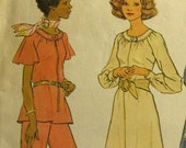 Vintage Sewing Pattern from 1975 Simplicity No. 7148 Plus Dress Top Wide-Leg Pants