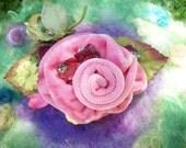 Pink Velvet Rose Hair Clip