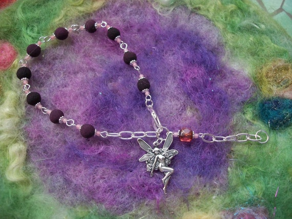Fairy Rosary Bracelet  with Rose Petal Beads