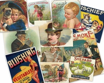 CD 2500 Vintage VICTORIAN LABELS Images Illustrations Fruit Crate canning cigar blank templates