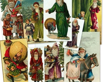CD 720 Vintage Victorian Christmas SANTA CLAUS Images Clipart Illustration Art Hannukah