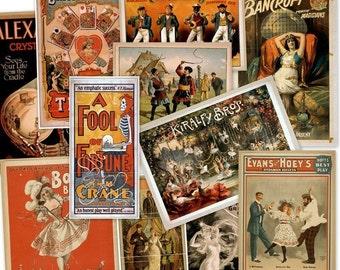 CD 2100 Vintage THEATER POSTERS Play Performances art circa 1800s Magic Burlesque Operetta Vaudeville Art Illustrations High Res