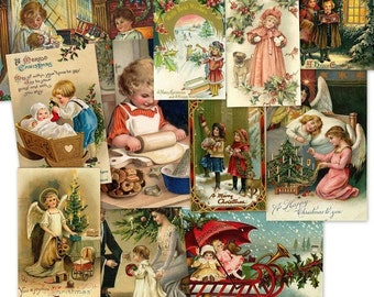 CD 2700 Vintage Victorian CHRISTMAS CHILDREN Kids Images Illustration Art