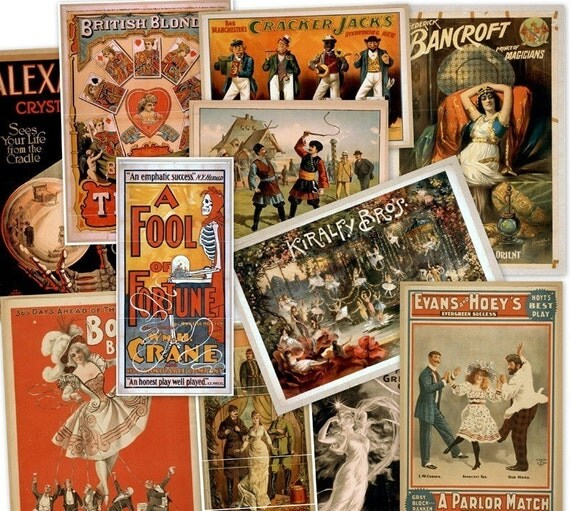 CD 2100 Vintage THEATER POSTERS Play Performances art circa 1800s Magic Burlesque Operetta Vaudeville Art Illustrations High Res
