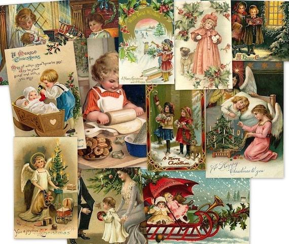 2700 vintage victorian christmas children kids images illustration art