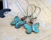 LAST PAIR Patina Butterfly Earrings - Verdigris Charms on Kidney Earwires