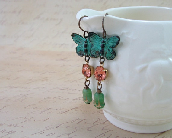 One of a Kind Sweet Butterfly Earrings Vintage Beads Spring Green Pink Peach