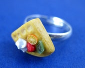 Miniature Food Jewelry Fruit Waffle Ring made from Fimo