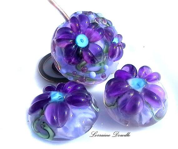 Lampwork bead set of 3  ink purples -   SRA