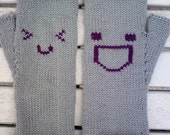 "Cute 'n' Happy Emoticon Fingerless Gloves - Fingerless Mittens - ""Life is Good"" Gloves - Women and Teens - Accessories - Gloves & Mittens"