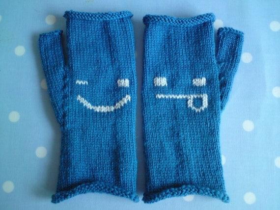 Cheeky Emoticon Fingerless Mittens / Gloves