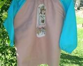 Kids long sleeve art smock, craft apron for girl  age 3 to 4. Sweet Girl.